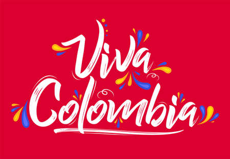 Viva Colombia, Live Colombia spanish text Patriotic Colombian flag colors vector.