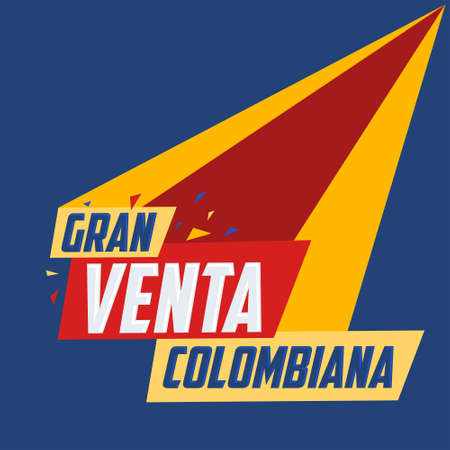 Gran Venta Colombiana, Colombian Big Sale spanish text, online sale vector.