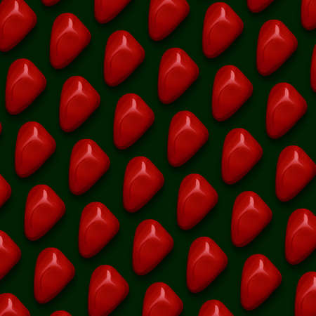Red Gemstones Pattern on green background, color Stones composition.