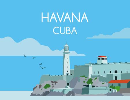 Havana Cuba landscape illustration.