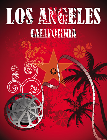 Los Angeles Film banner template. Illustration