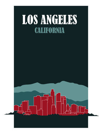 Los Angeles California cityscape illustration. Иллюстрация