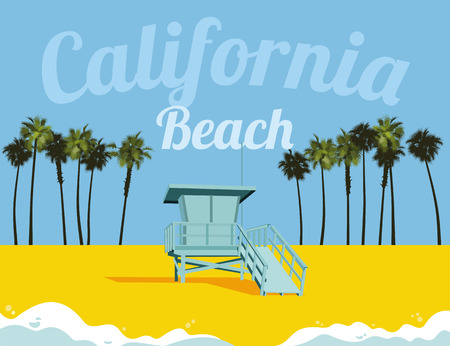Los Angeles California beach Illustration