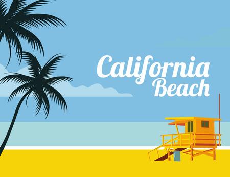 Los Angeles California beach illustration.