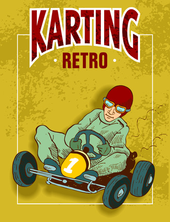 Yellow background of kart. Illustration
