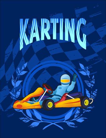 Blue background of a kart