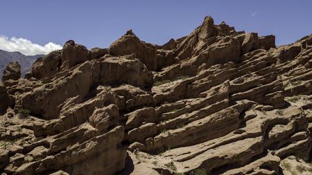 Aerial  view of rock formation called Los Colorados, near Cafayate city, Salta province, Argentina. Part of Quebrada de las Conchas. Imagens