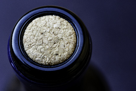 Wine bottle. Detail of cork. Top view.