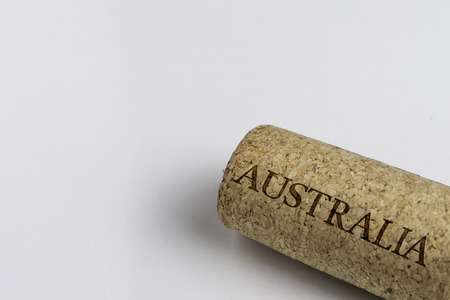 Wine cork isolated on the white. Recording the Country Name Australia.