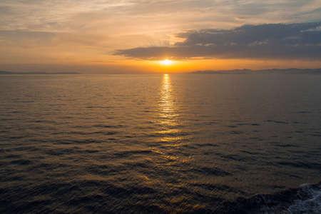 Dalmatian coast sunset from Jadrolinija ferry heading to Split