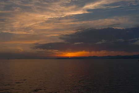 Dalmatian coast sunset from Jadrolinija ferry heading to Split