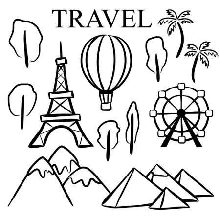 Vector hand drawn elements for travel and tourism. Set of hand drawn vector elements in doodle style