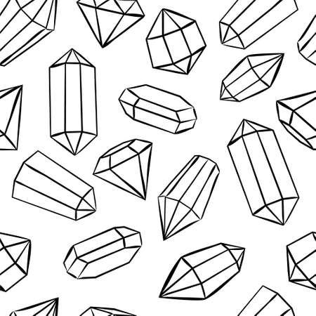 Seamless Crystals pattern. Hand drawn Vector crystals. Diamonds background.