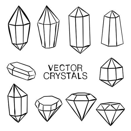 Set of hand-drawn crystals. Gemstones icon collection. Vector illustration of diamonds