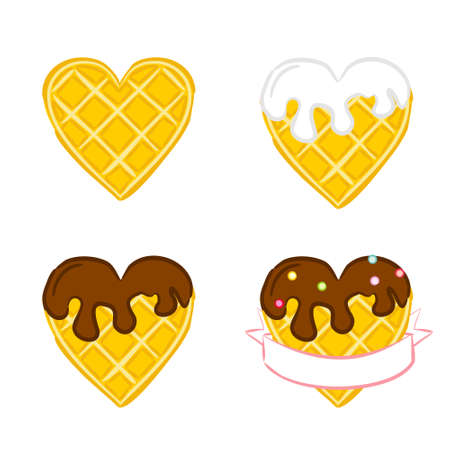 Heart shaped Belgian waffles with a text ribbon. Plain, with chocolate. Cute cartoon vector illustration. Valentines Day Greeting Card. Waffles Heart wrapped in tape.
