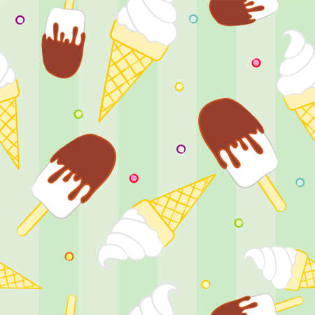 Seamless summer pattern with ice cream. Summer hand-drawn vector illustration. Pattern with popsicle and waffle cone. Summer ice cream.