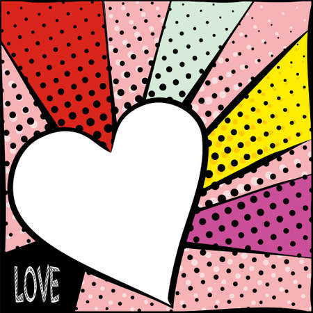 Bright frame with hearts in pop art style. Diverging multi-colored rays of red, yellow, turquoise, purple and pink. White heart with a black stroke. Pop art pattern.