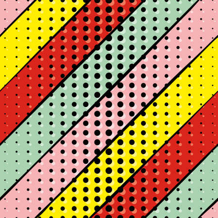 Seamless vector pop art pattern. Bright background with red, pink, yellow and blue stripes. Black dots on a bright background.