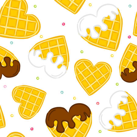 Seamless vector pattern of waffle hearts. Wafer hearts poured with chocolate and white cream. Background on the theme of love, wedding and Valentines Day. Illusztráció