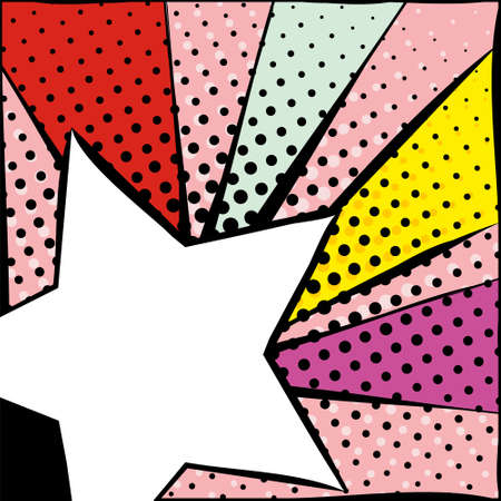 Bright frame with star in pop art style. Diverging multi-colored rays of red, yellow, turquoise, purple and pink. White star with a black stroke. Pop art pattern.