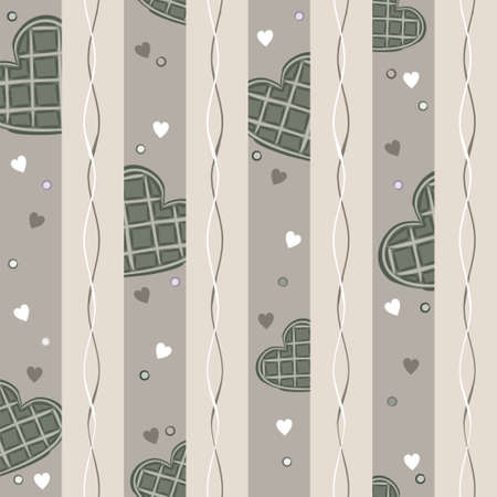 Seamless vector pattern of waffle hearts. Background on the theme of love, wedding and Valentines Day.