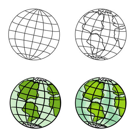 Draw a globe in steps, from a simple outline to a color model. Vector image of the Earth for illustrations on the theme of globalization and ecology.