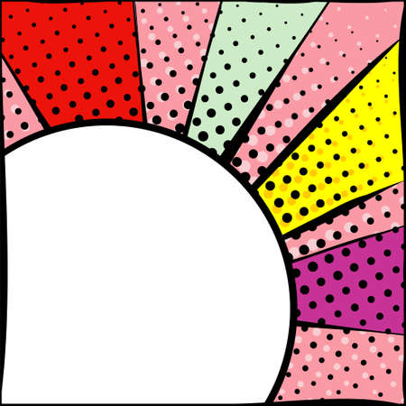 Bright frame with circle in pop art style. Diverging multi-colored rays of red, yellow, turquoise, purple and pink. White circle with a black stroke. Pop art pattern. Illustration