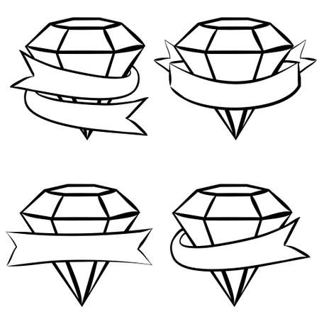 Hand-drawn vector labels with crystals. White Ruby, emerald, diamond wrapped in tape. Ribbons for text. Vector illustration for the decoration of jewelry products.  イラスト・ベクター素材