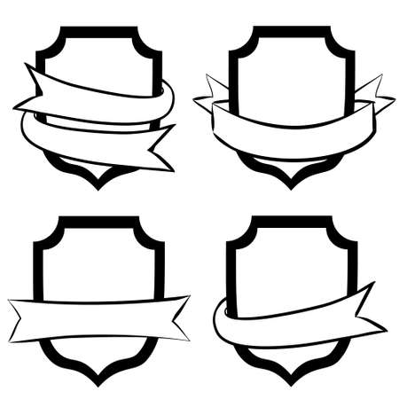 Hand-drawn vector labels with shield. White shell wrapped in tape. Ribbons for text. Vector illustration for the design of posters, banners, cards on the theme of protection.