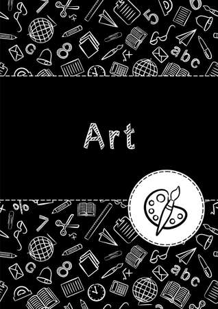 Cover for a school notebook or art book. School Pattern in black and white chalk style. Hand-drawn palette icon with brush. Blank for educational or scientific poster. 일러스트