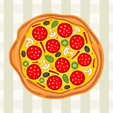 Bright tasty pizza on a gray checkered background. Logo for a pizzeria, cafe or restaurant. Kitchen pattern.
