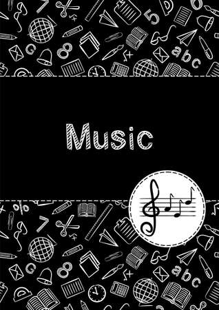 Cover for a school notebook or music textbook. School Pattern in black and white chalk style. Hand-drawn icon of stave and treble clef with notes. Blank for educational or scientific poster.