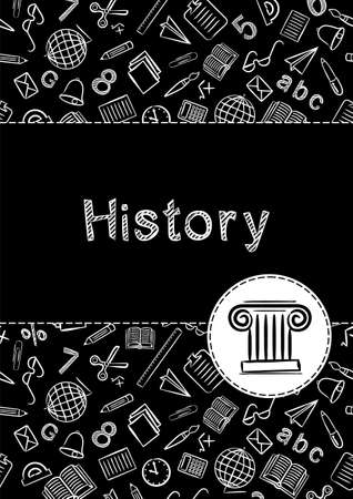 Cover for a school notebook or history book. School Pattern in black and white chalk style. Hand-drawn icon of the ionic greek column. Blank for educational or scientific poster. Archeology theme