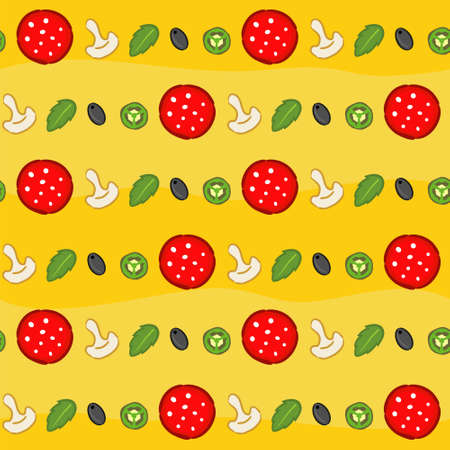 Seamless pizza pattern. Bright and juicy yellow background with pizza ingredients: salami, mint, jalapenos, mushrooms, and slices of sweet pepper. Ornament for design on the theme of food and pizza. Illustration