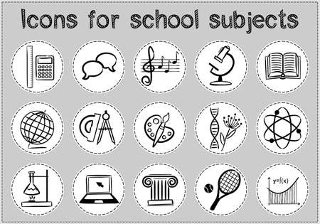 Collection of vector hand drawn icons of education. Natural and mathematical science, additional education, tutorship, freelance, sport and art. Set of black and white symbols for web and apps. Çizim