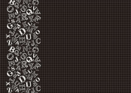 Pattern with school cells and letters. White letters on a black background. Blank for school design, poster, booklet, notebook, cover, stand, presentation or postcard. The second illustration.