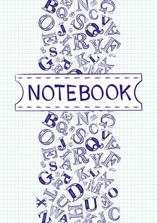 Cover for notebook. White checkered sheet with letters and a sign. School and educational theme, template for the design of covers, posters, posters, presentations and banners. Vector illustration Stock Illustratie