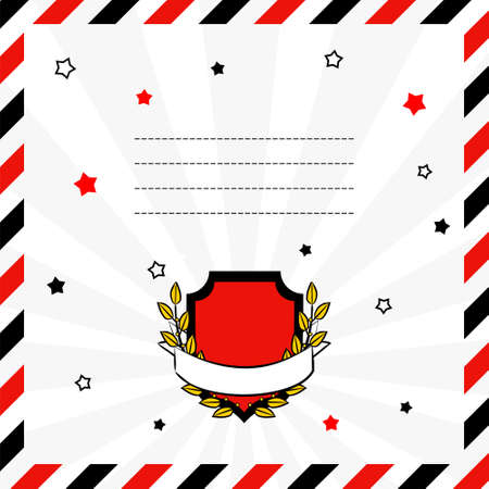 Postage square card with red-black decor on a white background. Red shield with a laurel wreath and a white ribbon for text. Blank for men's postcards and on the theme of victory.