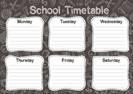 Template of a school schedule for 6 days of the week for students. Vector illustration in black and white chalky styles. Includes hand-drawn elements on a school theme.