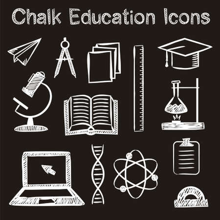 Set of hand-drawn icons on the theme of education in chalk style. White strokes on a black background. Vector illustration for a library, school, university, college, educational application or site.