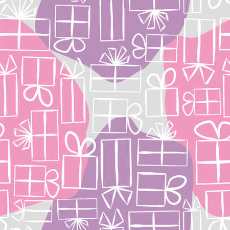 Pink Seamless pattern for gift wrapping paper. Spot Background with gift boxes with bows. Hand-drawn gift boxes in doodle style. Vector illustration