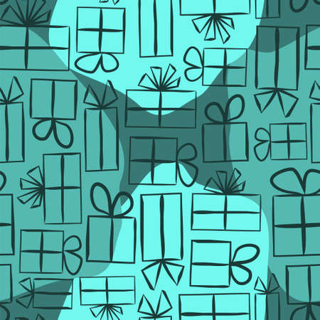 Turquoise Seamless pattern for gift wrapping paper. Spot Background with gift boxes with bows. Hand-drawn gift boxes in doodle style. Vector illustration