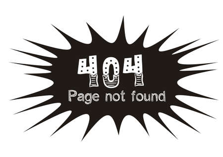 Screensaver for page 404 page not found. Black blot on a white background with lettering. White letters in chalk style. Template for web page. Vector illustration