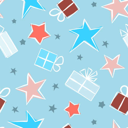 Baby blue Seamless pattern for gift wrapping paper. Background with gift boxes with bows and stars. Hand-drawn gift boxes in doodle style. Vector illustration  イラスト・ベクター素材