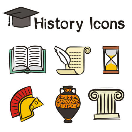Set of hand-drawn icons on the theme of History. Pictograms of an open book, Greek column, Roman helmet, amphora, scroll, hourglass. Vector illustration on the theme of archeology and education.