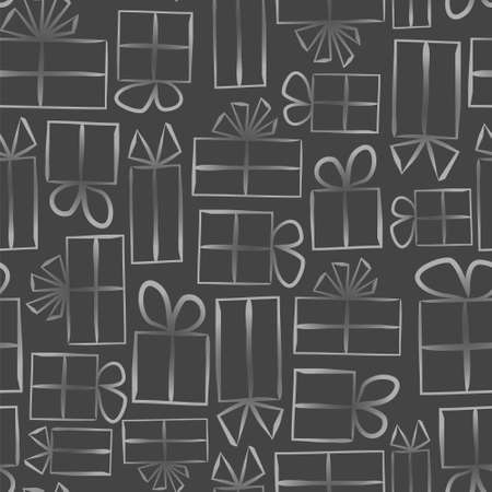 Dark gray Seamless pattern for gift wrapping paper. Background with gift boxes with bows. Hand-drawn gift boxes in doodle style. Vector illustration