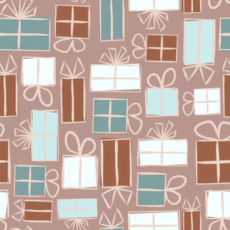 Seamless pattern for gift wrapping paper. Background with gift boxes with bows. Hand-drawn gift boxes in doodle style. Vector illustration  イラスト・ベクター素材