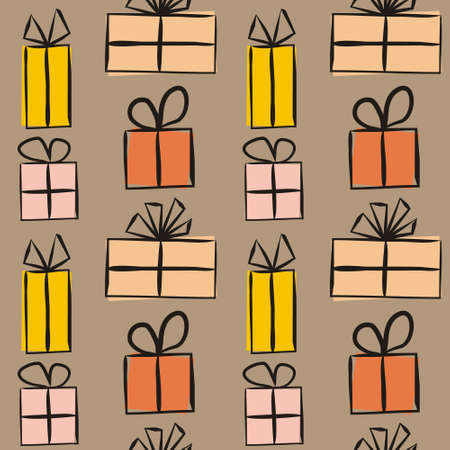 Seamless pattern for gift wrapping paper. Brown background with Yellow-orange gift boxes with bows. Hand-drawn gift boxes in doodle style. Vector illustration