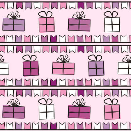Lilac Seamless pattern for gift wrapping paper. Background with gift boxes with bows and flags. Hand-drawn gift boxes in doodle style. Vector illustration
