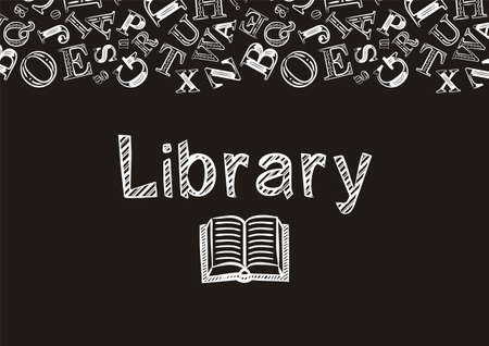 Chalk-style library screen saver. The name Library and the background of the letters are made with white strokes on a black background. Vector illustration for poster, banner or app design.